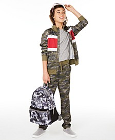 Big Boy Visionary Camouflage Tricot Jacket & Pants, Created for Macy's & Bioworld 2-Pc. Skateboard-Print Backpack Set