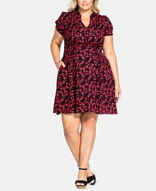 City Chic Trendy Plus Size Love Vine Dress