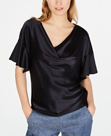 Elie Tahari Silk Draped Blouse