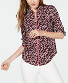 Michael Michael Kors Foulard-Print Zip-Up Top, Regular & Petite