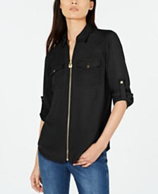 Michael Michael Kors Front-Zip Utility Shirt, Regular & Petite