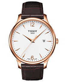 Tissot Men's Swiss Tradition Brown Leather Strap Watch 42mm T0636103603700