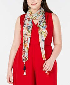 I.N.C. Rainforest Botanical Crescent Scarf, Created for Macy's