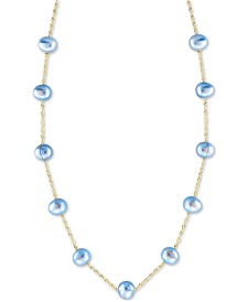 "EFFY® Dyed Blue Cultured Freshwater Pearl (5-1/2mm) 18"" Collar Necklace in 14k Gold"