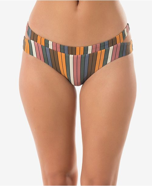 O'Neill Juniors' Lora Striped Cut-Out Hipster Bottoms, Created For Macy's