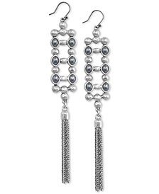 Silver-Tone Imitation Pearl, Bead & Chain Tassel Drop Earrings