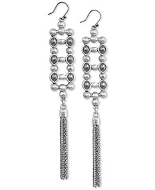 Lucky Brand Silver-Tone Imitation Pearl, Bead & Chain Tassel Drop Earrings