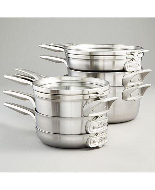 Calphalon Premier 10-Pc. Space-Saving Stainless Steel Cookware Set