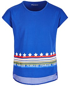 Ideology Big Girls Mesh-Trim Graphic-Print T-Shirt, Created for Macy's