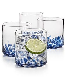 The Cellar Blue Speckle Double Old-Fashioned Glasses, Set of 4, Created for Macy's
