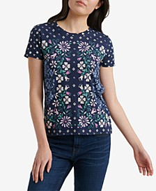 Floral Scarf Print Cotton T-Shirt