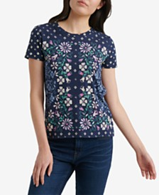 Lucky Brand Floral Scarf Print Cotton T-Shirt