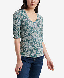 Lucky Brand Floral-Print Ruched-Sleeve Top