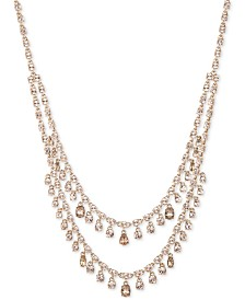 "Givenchy Gold-Tone Shaky Crystal Two-Row Necklace, 19"" + 1"" extender"