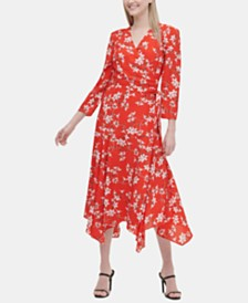 Calvin Klein Floral-Print Faux-Wrap Maxi Dress