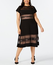 R & M Richards Plus Size Illusion A-Line Dress