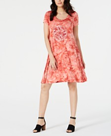 Style & Co Graphic Tie-Dyed Dress, Created for Macy's