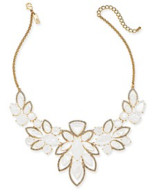 "INC Crystal & Stone Statement Necklace, 16"" + 3"" Extender, Created for Macy's"