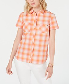 Tommy Hilfiger Plaid Button-Up Top