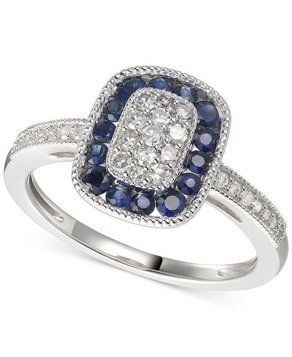 Macy's Sapphire (5/8 ct. t.w.) & Diamond (1/4 ct. t.w.) Statement Ring in 14k Gold