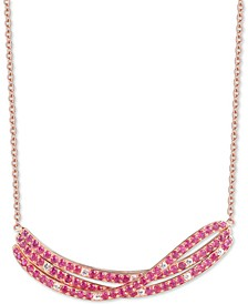"Certified Ruby (3-5/8 ct. t.w.) & White Topaz (1/2 ct. t.w.) 18"" Pendant Necklace in 14k Rose Gold-Plated Sterling Silver"