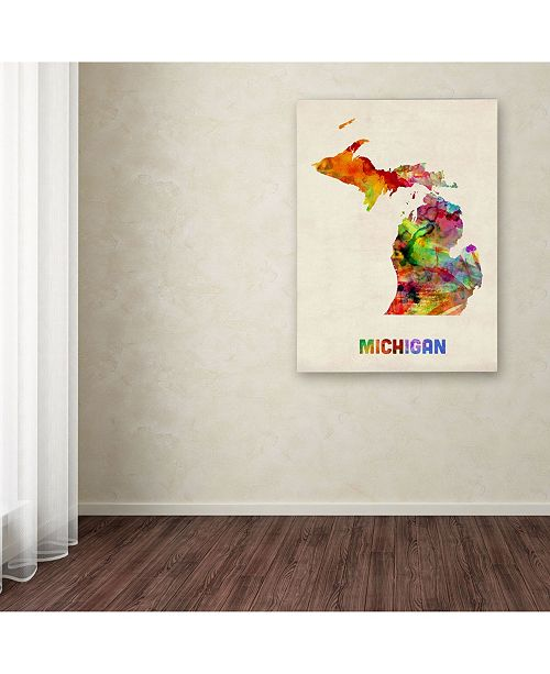 Macys Furniture Outlet Michigan: Trademark Global Michael Tompsett 'Michigan Map' Canvas