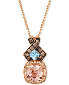 "Le Vian® Multi-Gemstone (1-1/4 ct. t.w.) & Diamond (1/4 ct. t.w.) 18"" Pendant Necklace in 14k Rose Gold"