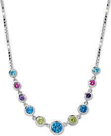 """Giani Bernini Cubic Zirconia Rainbow Bezel Statement Necklace in Sterling Silver, 16"""" + 2"""" extender, Created for Macy's"""