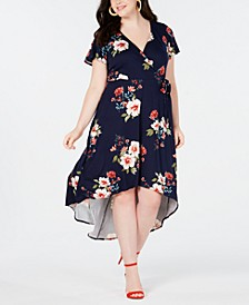 Trendy Plus Size Printed High-Low Wrap Dress