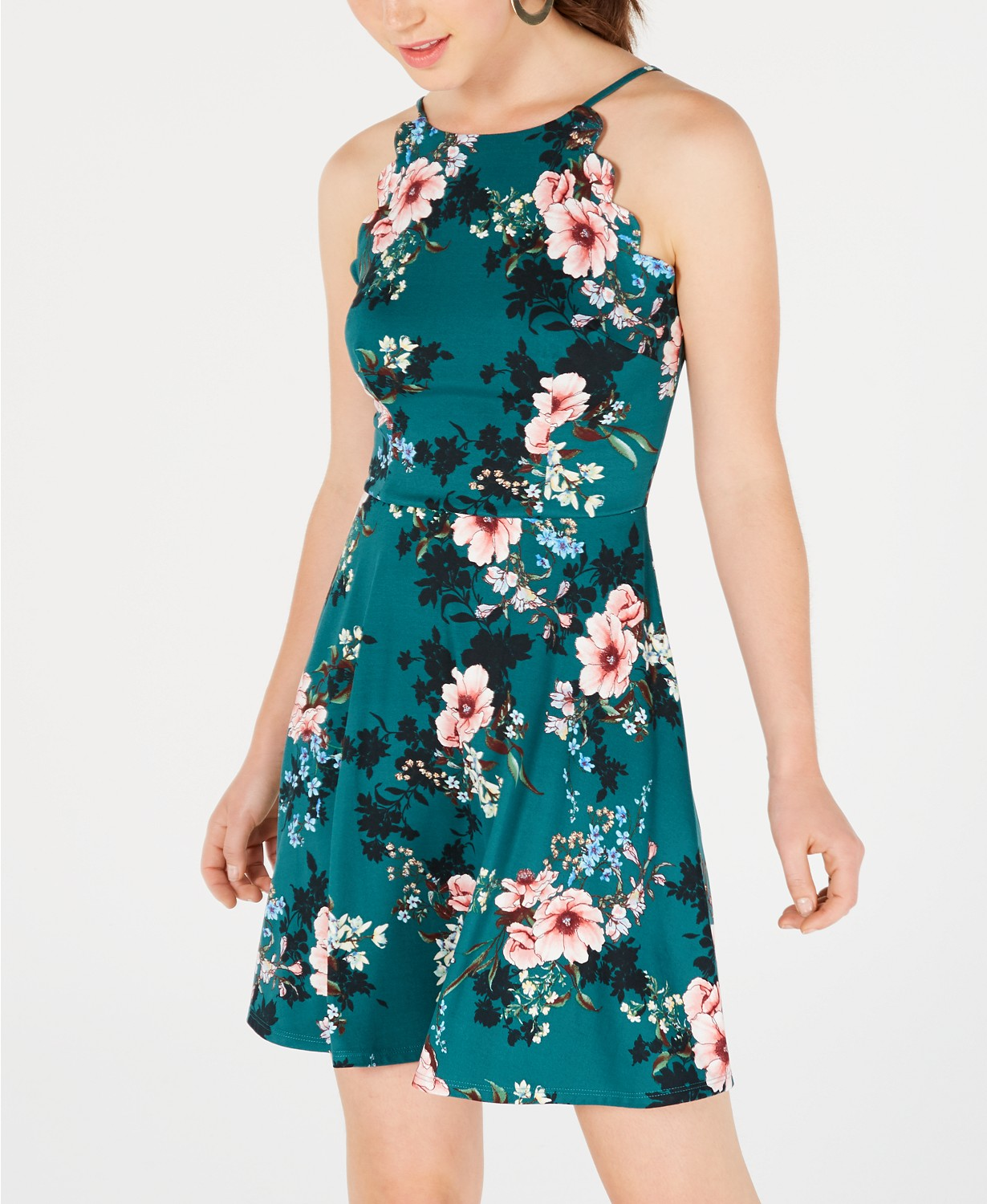 BCX Juniors' Floral-Print Scalloped Fit & Flare Dress