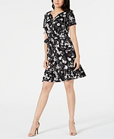 Petite Short-Sleeve Flounce Hem Dress