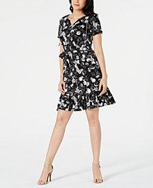 NY Collection Petite Short-Sleeve Flounce Hem Dress