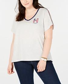 Tommy Hilfiger Sport Plus Size Striped V-Neck Graphic T-Shirt