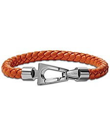 Men's Orange Braided Leather Bracelet in Stainless Steel