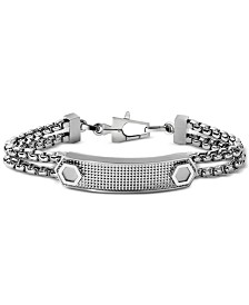Bulova Men's Double Box Chain ID Bracelet in Stainless Steel