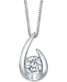 "Sirena Diamond Curve 18"" Pendant Necklace (1/3 ct. t.w.) in 14k White Gold or 14k Gold"