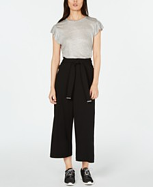 MICHAEL Michael Kors Linen Top & Paper-Bag Waist Pants
