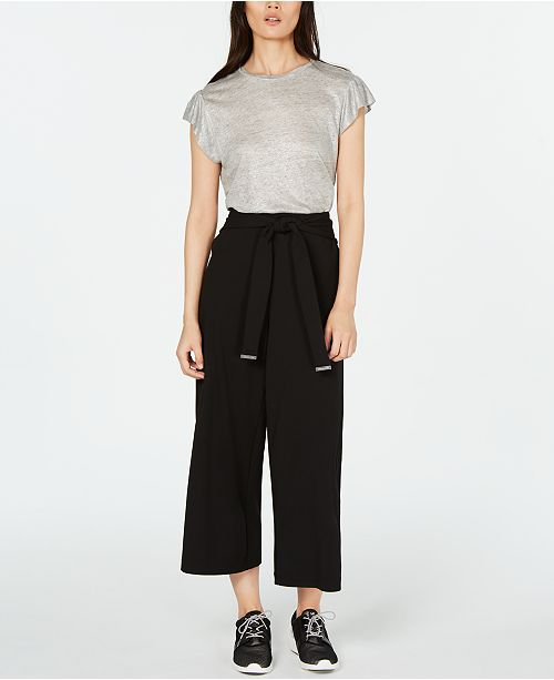 Michael Kors Linen Top & Paper-Bag Waist Pants