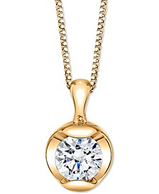 """Diamond Solitaire 18"""" Pendant Necklace (1/5 ct. t.w.) in 14k Gold"""