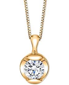 "Sirena Diamond Solitaire 18"" Pendant Necklace (1/5 ct. t.w.) in 14k Gold"