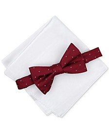 Men's Pre-Tied Dot Bow Tie & Solid Pocket Square Set, Created for Macy's