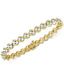 Diamond Two-Stone Link Bracelet (6 ct. t.w.) in 14k Gold