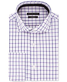 Men's Classic/Regular-Fit Blue/Tan Check French Cuff Dress Shirt