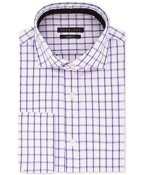 Sean John Men's Big & Tall Classic/Regular-Fit Check French Cuff Dress Shirt