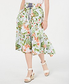 Floral-Print Lace-Up Skirt, Created for Macy's