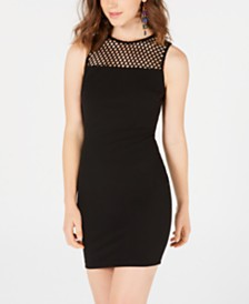 B Darlin Juniors' Mesh Caged Bodycon Dress