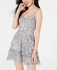 Juniors' Python-Print Fit & Flare Dress