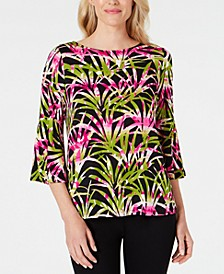 Flounce-Sleeve Tropical-Printed Top