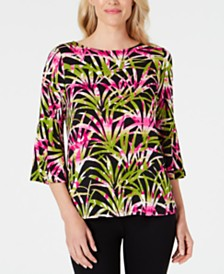 Kasper Flounce-Sleeve Tropical-Printed Top