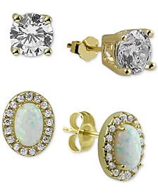 2-Pc. Set Cubic Zirconia & Synthetic Opal Stud Earrings in Gold-Plated Sterling Silver